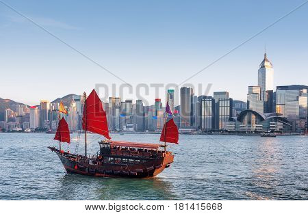 Traditional Chinese Wooden Sailing Ship With Red Sails