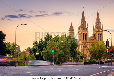 St. Peter's Cathedral in Adelaide South Australia. View from King William road bridge