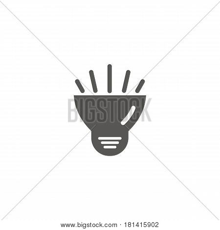 Simple vector icon of a bulb. Traditional diode form. Black and white