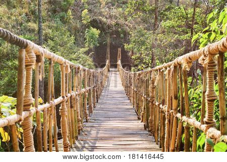 Amazing Footbridge Made From Rope And Bamboo