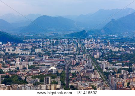 View on town from la Bastille, Grenoble,  France
