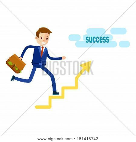 Manager running upstairs to success with briefcase isolated on white. Man in blue suit with red tie hold going to reach money very quickly vector illustration in cartoon style flat design