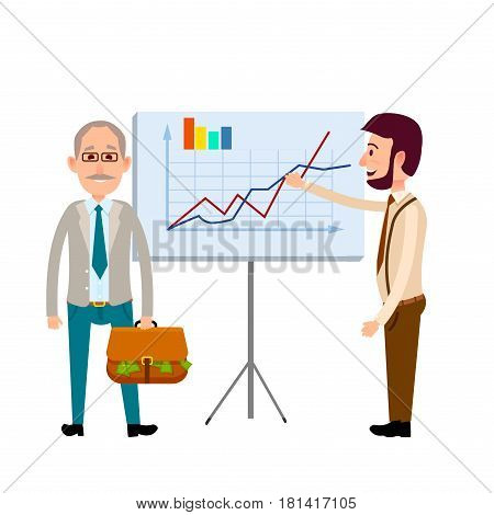 Two men standing near poster with charts flat icon isolated on white. Vector illustration of gray-haired man holding brown bag with green money and young male with beard shows by one hand on diagram.