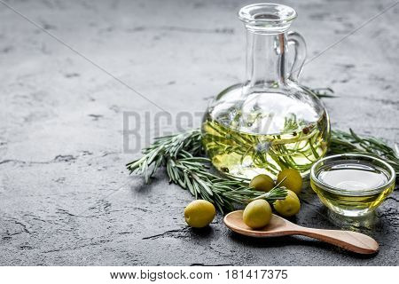 organic olive oil with fresh ingredients on stone kitchen table background mockup