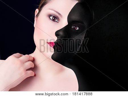 sensuality woman with dark profile on black background