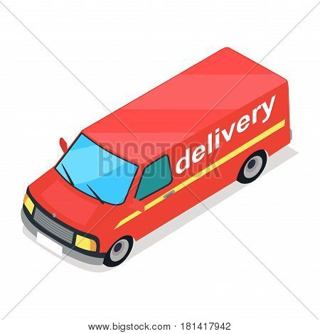 Red truck of delivery cartoon style flat design isolated on white. Capacious car with text and yellow thin stripe. Vector illustration of means of transportation for shipping by earth icon web banner.