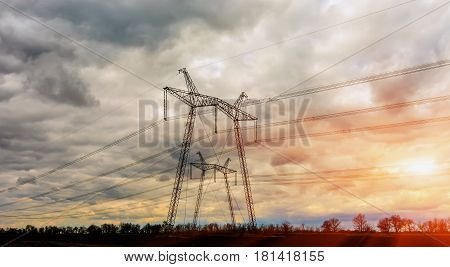 Electricity Pylon - overhead power line transmission tower
