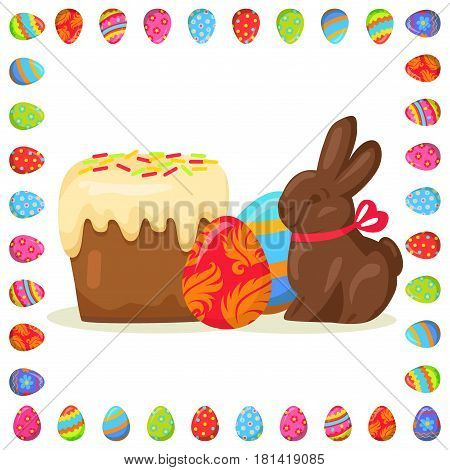 Traditional Easter treats vector illustration. Delicious Easter cake, chocolate bunny with red bow in decorative frame made of eggs isolated on white background. Spring religious holiday celebration.