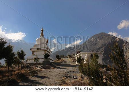 Buddhist stupa near Jomsom village Annapurna Conservation Area Himalaya Mountains Nepal