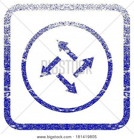Centrifugal Arrows textured icon for overlay watermark stamps. Blue vectorized texture. Flat vector symbol with dirty design inside rounded square frame. Framed blue rubber seal stamp imitation.