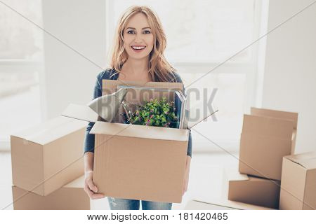 Smiling Young Happy Woman Moving New Place Of Leaving And Holding Box With Belongings