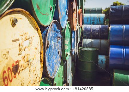 Steel barrel tank or oil fuel toxic chemical barrels old Rusty Danger feeling color tone.