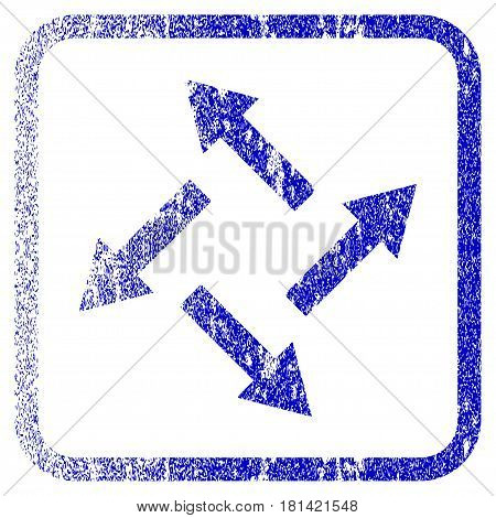Centrifugal Arrows textured icon for overlay watermark stamps. Blue vectorized texture. Flat vector symbol with dust design inside rounded square frame. Framed blue rubber seal stamp imitation.