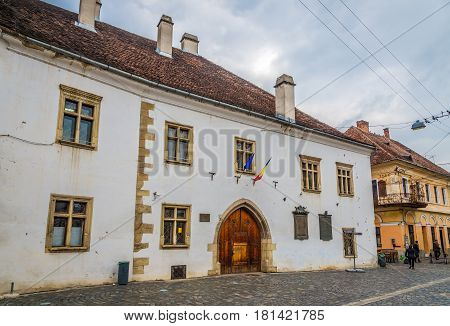 CLUJ-NAPOCA, ROMANIA - MARCH 20,2017 - House of king Matei Corvin in Cluj - Napoca. Cluj-Napoca is located in the central part of Transylvania.
