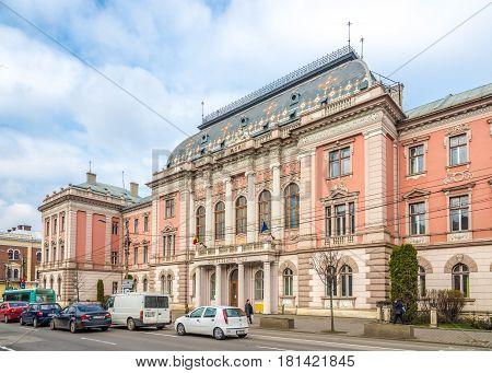 CLUJ-NAPOCA, ROMANIA - MARCH 20,2017 - Building of Justice Palace in Cluj - Napoca. Cluj-Napoca is located in the central part of Transylvania.