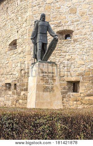CLUJ-NAPOCA ,ROMANIA - MARCH 20,2017 - Statue of Baba Novac in Cluj - Napoca city. Cluj-Napoca is located in the central part of Transylvania.