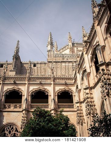 Courtyard of a cloister in Toledo Spain