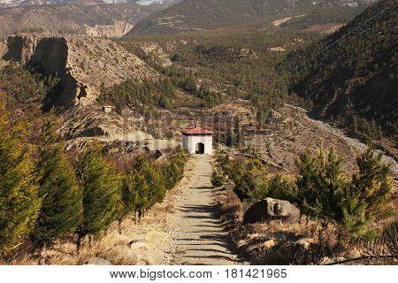 Gate to buddhist monastery near Jomsom village Annapurna Conservation Area Himalaya Mountains Nepal