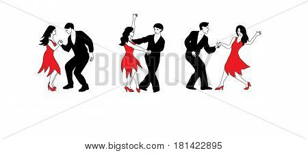 Dance Set - illustration of couples of dancers in black and red.