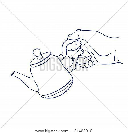 doodle hand drawn sketch keep teapot in hand
