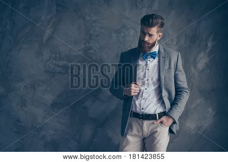 Portrait Of Young Bearded Guy In A Suit Stands On A Gray Background And Looks Inquiringly