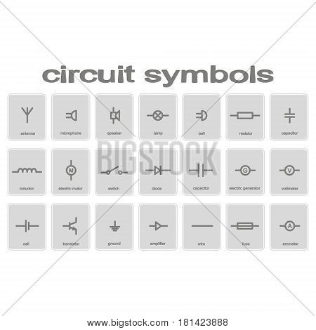 set of monochrome icons with circuit symbols for your design