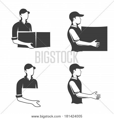 Monochrome logo of a postman or longshoreman, a man s logo with a box in his hand, suitable for a postal company or delivery company, vector illustration
