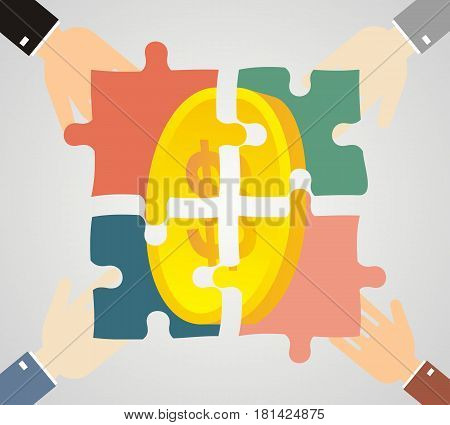 Profit from the partnerships. Human hands holding pieces of a puzzle with the coin. Stock vector illustration.