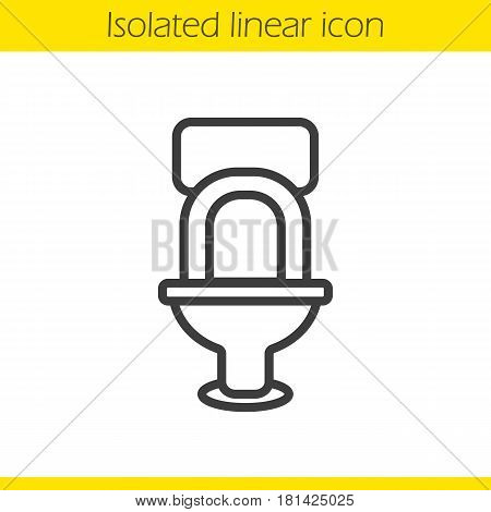 Toilet linear icon. WC thin line illustration. Lavatory pan contour symbol. Vector isolated outline drawing
