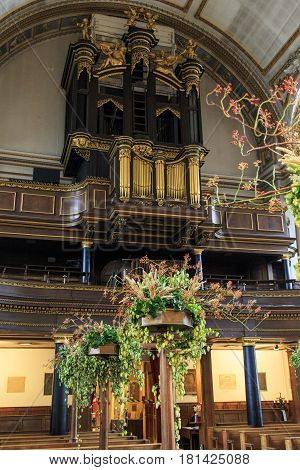 LONDON, GREAT BRITAIN - SEPTEMBER 20, 2014: This is the organ of the church St. James Piccadilly that was designed by Sir Christopher Wren in the 17th century.