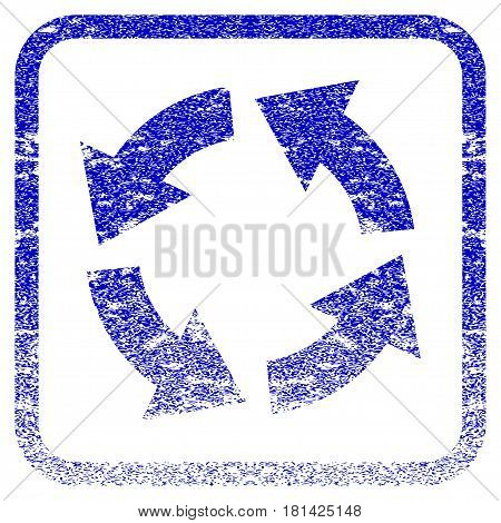 Circulation textured icon for overlay watermark stamps. Blue vectorized texture. Flat vector symbol with dirty design inside rounded square frame. Framed blue rubber seal stamp imitation.