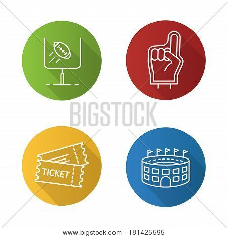 American football flat linear long shadow icons set. Foam finger, game tickets, baseball arena, goal sign. Vector line illustration