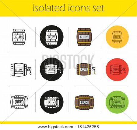 Rum barrels icons set. Linear, black and color styles. Wooden rum barrels with tap and drop. Isolated vector illustrations