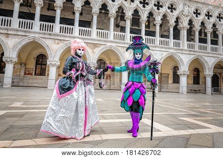 Colorful carnaval masks in city of Venice, Italy.