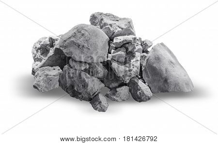 rock or granite stone isolated on white with clipping path.