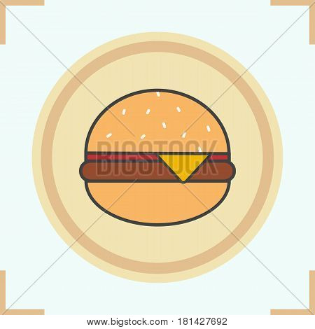 Hamburger color icon. Fastfood cheese burger. Isolated vector illustration
