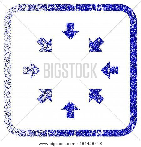 Compact Arrows textured icon for overlay watermark stamps. Blue vectorized texture. Flat vector symbol with dust design inside rounded square frame. Framed blue rubber seal stamp imitation.