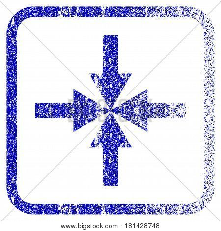 Compress Arrows textured icon for overlay watermark stamps. Blue vectorized texture. Flat vector symbol with scratched design inside rounded square frame. Framed blue rubber seal stamp imitation.