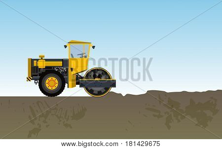 Road vibratory roller is rolled clay. Straightening uneven ground. Yellow big roadroller builds roads. Steamroller paving way. Construction machinery prepare equipment. Master vector illustration.