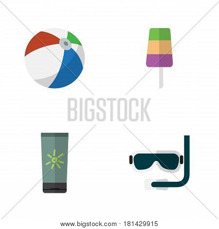 Flat Beach Set Of Sundae, Moisturizer, Scuba Diving And Other Vector Objects. Also Includes Ice, Sphere, Cream Elements.