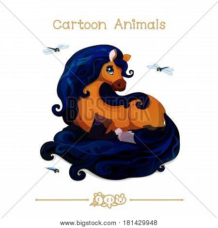Toons series cartoon animals: brown noble mare