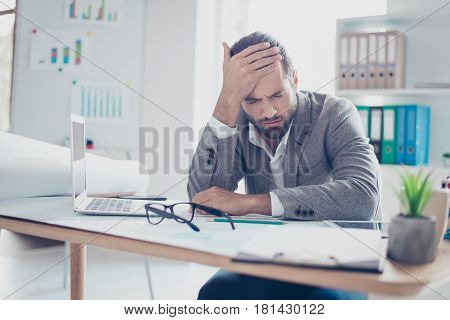 Tired Young Overworked Businessman Touch The Head And Feel Strong Pain
