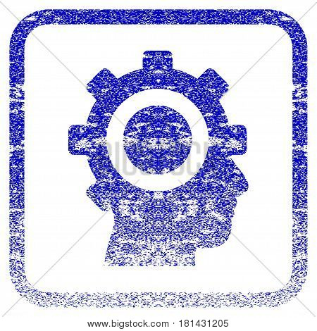 Cyborg Gear textured icon for overlay watermark stamps. Blue vectorized texture. Flat vector symbol with unclean design inside rounded square frame. Framed blue rubber seal stamp imitation.