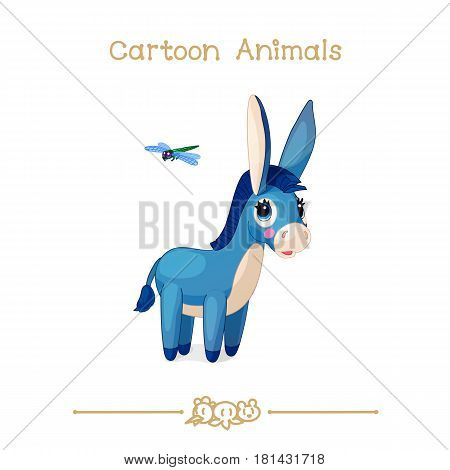 Toons series cartoon animals: donkey and dragonfly.
