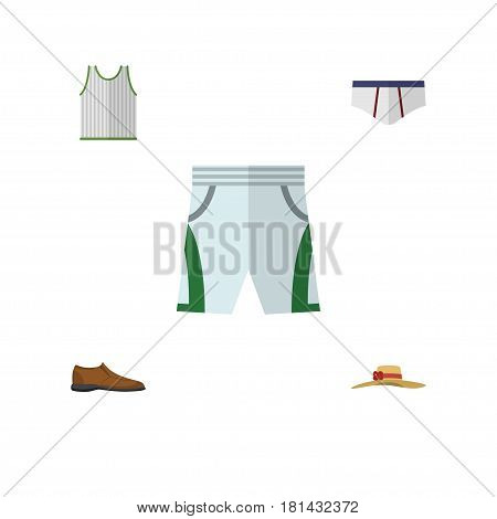 Flat Dress Set Of Underclothes, Male Footware, Singlet And Other Vector Objects. Also Includes Tank, Woman, Underwear Elements.