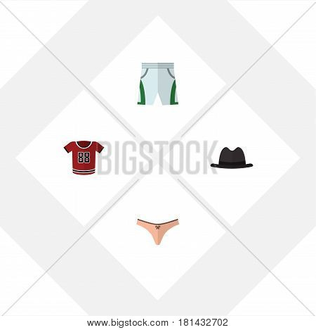 Flat Clothes Set Of T-Shirt, Trunks Cloth, Panama And Other Vector Objects. Also Includes Panties, Lingerie, Cloth Elements.