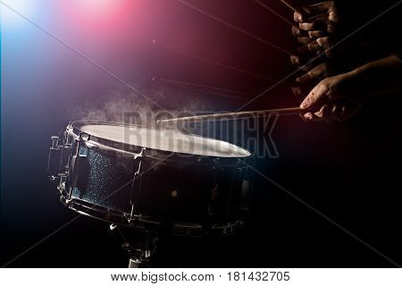 The Man Is Playing Snare Drum