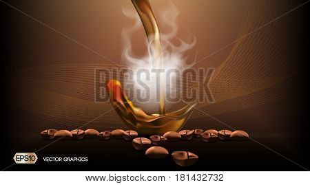 Digital Vector Steaming coffee Background with coffee beans. Ready for product placement and infographic, poster, ads, print or magazines