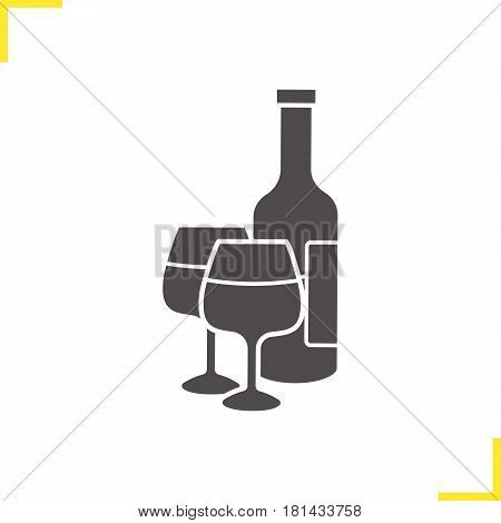 Wine bottle and glasses glyph icon. Silhouette symbol. Negative space. Vector isolated illustration