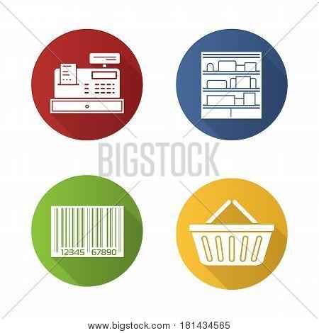 Supermarket flat design long shadow icons set. Shopping basket, cash register, bar code, shop shelves. Grocery store items. Vector silhouette illustration
